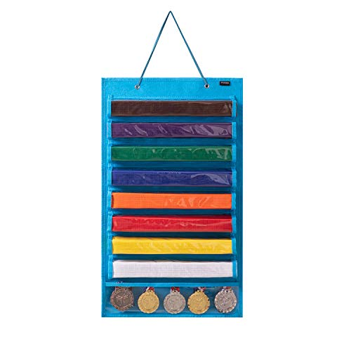 AFUOWER Martial Arts Belt Display Karate Belt Holder for 8 Belts, Hold 5 Medals (Patent Pending)
