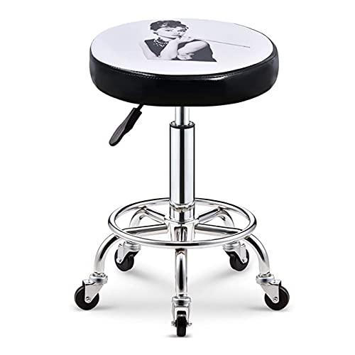 QLIGAH Taburete giratorio con ruedas para peluquería, cosméticos, dentista, silla giratoria de trabajo con ruedas silla de trabajo ajustable altura 40-53cm