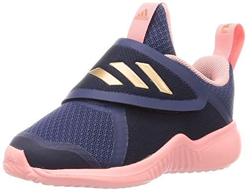 adidas Unisex-Baby Fortarun X CF First Walker Shoe, Tech Indigo/Copper Metallic/Glory Pink, 23 EU