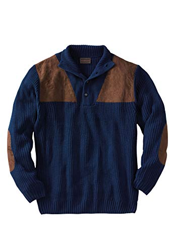 Boulder Creek by Kingsize Men's Big & Tall Patch Sweater with Mock Neck
