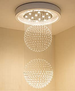 Saint Mossi Modern Crystal Raindrop Chandelier Lighting Flush Mount LED Ceiling Light Fixture Pendant Lamp for Dining Room Bathroom Bedroom Livingroom 10 GU10 Bulbs Required H83
