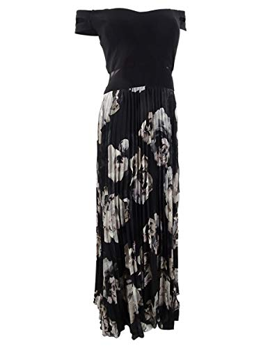 Xscape Women's Pleated Off-The-Shoulder Gown (10, Black/White)