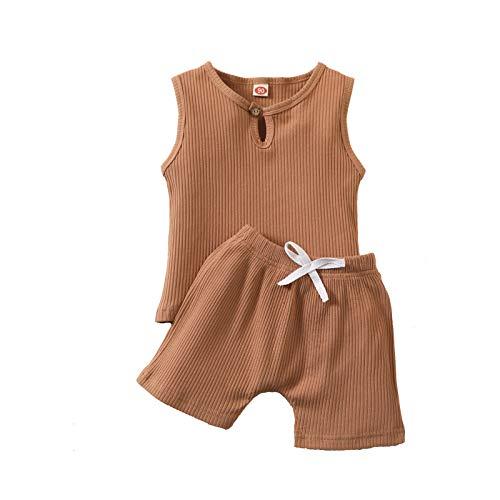 Conjunto de ropa de verano para niños pequeños, de color sólido, sin mangas, chaleco y pantalones cortos