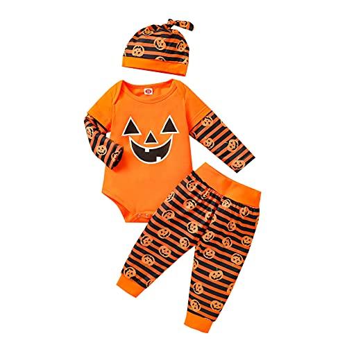 BIBOKAOKE Baby jongens meisjes Halloween cartoon pompoen print lange mouwen rompertje + gestreepte broek + zachte hoed 3-delig kledingset unisex baby slaapromper babykleding set, oranje 14, 70 cm