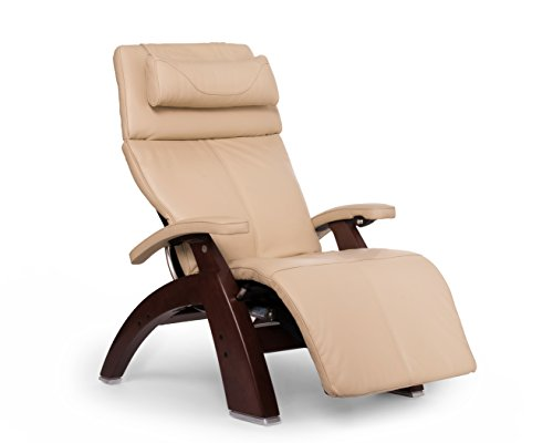 Perfect Chair Human Touch PC-600 Omni Motion Silhouette Series 2 Power Recline Chestnut Wood Base Zero-Gravity Recliner - Ivory Premium Leather
