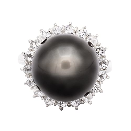 SV925 14mm ブラックパール 黒蝶真珠 指輪 リング 黒真珠 6月 誕生石 天然石 15276b (21.5)