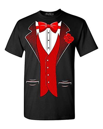 Shop4ever Classic - Camiseta de esmoquin con rosa roja para fiesta - Negro - 5X-Large