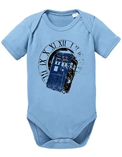 Dr Rom Doctor Baby Strampler Who Bio Baumwolle Body Jungen & Mädchen 0-12 Monate Tv Serie, Größe:74/7-9 Monate, Farbe:Babyblau