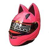 shuhong Motorradhelm Katze Hörner Männer Frauen Atmungsaktiver Moto-Helm, Full Face Jet-Helm,Pink-M(53-55cm)