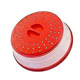 Horno de microondas con tapa de silicona plegable para microondas, tapa de cocina ventilada, color rojo