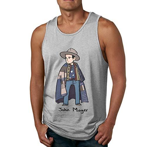 DJNGN Camiseta de algodón para Hombre, Camiseta sin Mangas para Gimnasio, Camiseta sin Mangas con Dibujos Animados de John Mayer