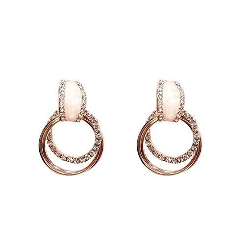 925 aguja de plata círculo de diamantes de imitación pendientes largos temperamento personalidad pendientes de todo fósforo pendientes pendientes mujeres
