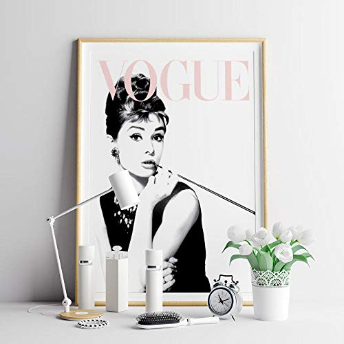 QZROOM Vogue Posters Prints Cartel de Moda Arte de Pared escandinavo Pintura de Lienzo Moderna Audrey Hepburn Cuadros de Pared para Sala de estar-50x70cm Sin Marco