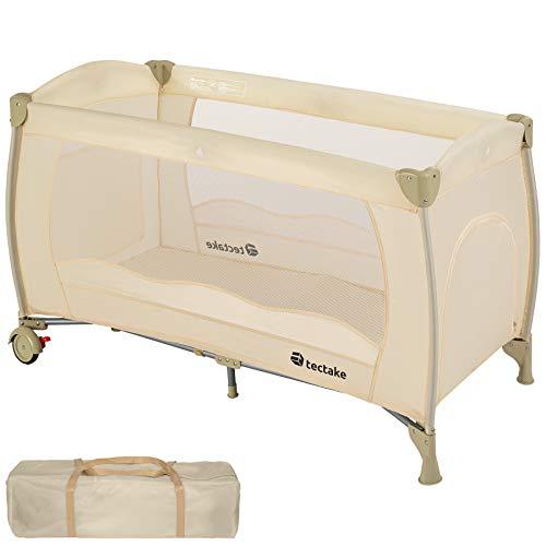 TecTake Kinderreisebett mit Schlafunterlage und praktischen Transporttasche - diverse Farben - (Beige | Nr. 402418)