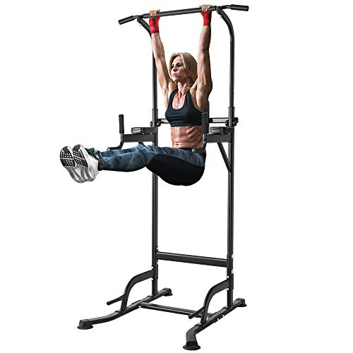 ONETWOFIT Multi-Function Power Tower Adjustable Height Home Fitness Workout Station Dip Stands Pull up Bar Push Up-Supports to 330lbs OT084