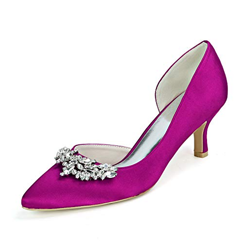 LGYKUMEG Mujer Zapatos de boda Tacón Stiletto Dedo Puntiagudo Sexy Boda Fiesta y Noche Satén Pedrería Un Color,Púrpura,US5.5/EU36/UK3.5
