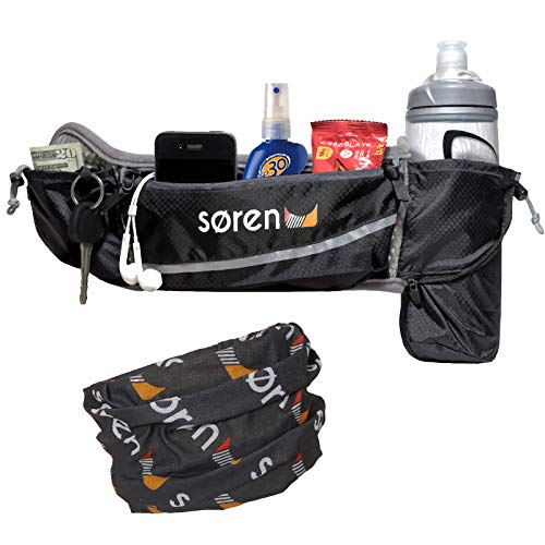 Soren Running Belt - 3 Pocket Hydration Belt - Ideal Phone Holder for Running
