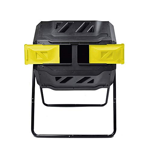 EJWOX Large Composting Tumbler - Dual Rotating Outdoor Garden Compost Bin, BPA Free/Easy Turn/Enough Height/Heavy Duty Capacity Composter(43 Gallon,Yellow)