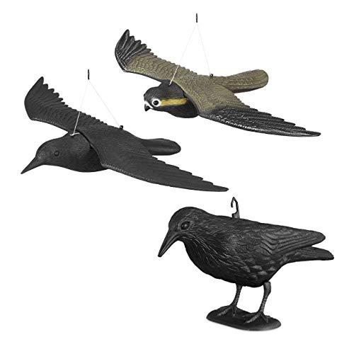 Relaxdays 3er Set Taubenschreck, Vogelschreck Krähe u Falke, Dekofigur als Vogelscheuche, Taubenabwehr, lebensgroße Vogelattrappen
