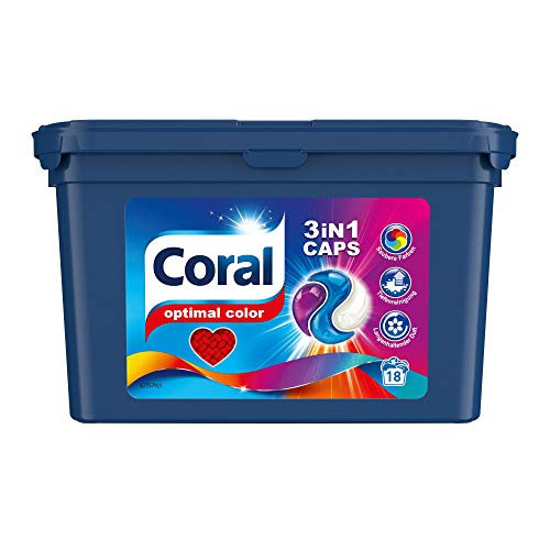 Coral 3in1 Caps Waschmittel Optimal Color für bunte Wäsche Colorwaschmittel mit 3-Kammern-Technologie 54WL (3 x 18 Stück)