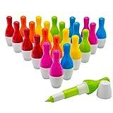 Woclhj bowling Style penne a sfera cute mini penna a sfera retrattile telescopico penna creativo novità regalo per studenti bambini 0.5mm, inchiostro blu–Confezione da 24