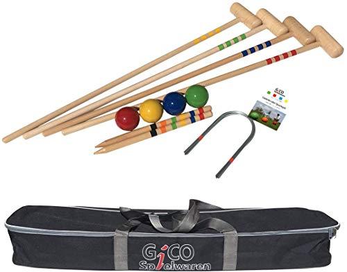GICO Qualitäts Krocketspiel / Krocket / Crocket für 4 Spieler (100 cm Erwachsenengröße) mit Transporttasche - Der Garten Spielspaß mit Qualitätsware aus Massivholz für die ganze Familie -Made in EU-3244