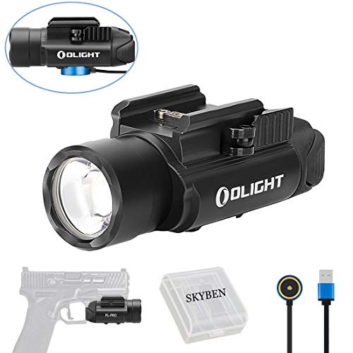 OLIGHT PL-PRO Valkyrie 1500 Lumens Cree XHP 35 HI NW LED Magnetic Rechargeable Weaponlight with Glock and 1913 Rail Adapter, Built-in Battery and SKYBEN Battery Case (Black)