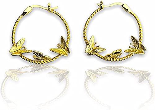 Pendiente de aro de mariposa de oro ovalado de 14 quilates, estilo vintage, con diseño geométrico, gran aro minimalista, bohemio EB65, Without Gift Box, dorado,
