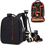 AMPLE ITALIA DSLR Backpack Camera Bag | Camera Lens Shoulder Backpack Case for Canon Nikon | Lens Accessories Carry Backpack Case (Orange)