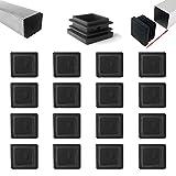 Zaky 16 pezzi Tappi Lamellari per Tubi Quadrati 50x50 mm Connettore in Plastica Nera per Tubo Quadrato (nero)