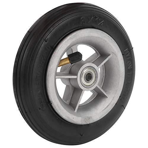 Demeras Neumático de Goma, 6x1 1/4 6 Pulgadas Rueda de Goma Rueda Resistente al Desgaste Scooter eléctrico Inflado de Goma Accesorios de Repuesto