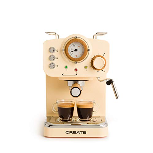 IKOHS THERA Retro - Cafetera Express para Espresso y Cappucino, 1100W, 15 Bares, Vaporizador Orientable, Capacidad 1.25l, Café Molido y Monodosis, con Doble Salida (Amarillo Mate)
