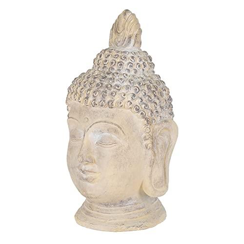 ECD Germany Cabeza de Buda Figura de Piedra Artificial Poliresina 55cm Color Beige/Gris Escultura Estilo Asiatico Figurilla Decorativa Feng Shui Estatua de Adorno para el Hogar y Jardí