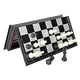 Ajedrez Damas y Backgammon ajedrez magnético Backgammon Damas Juego Juego de Mesa Plegable 3-en-1 Ruta Internacional de Ajedrez Ajedrez Plegable portátil Juego de Mesa kyman