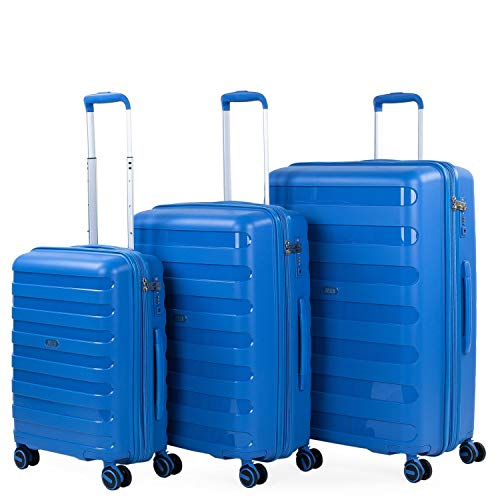 JASLEN - Set van 3 koffers van het merk JASLEN, maten 50/60/70, gemaakt van polypropyleen, een licht en bestendig materiaal. TSA + uitschuifbaar hangslot 161200, Color Blauw