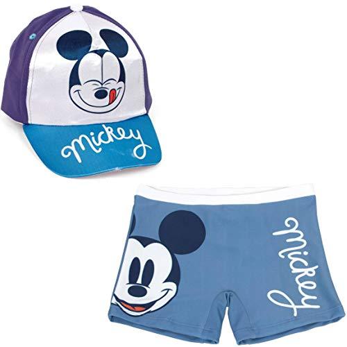 Bañador Mickey Mouse Tipo Bóxer para Playa o Piscina +Gorra Disney Mickey Mouse para niños