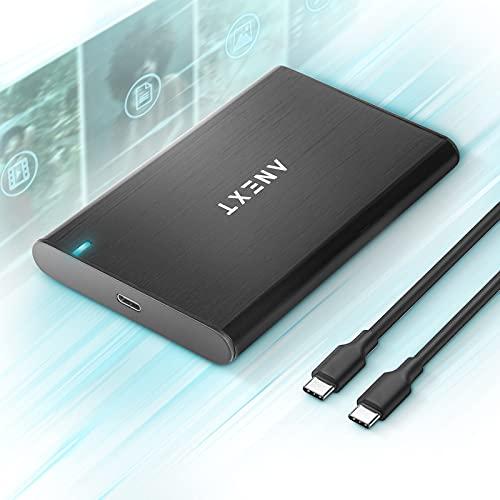 """ANEXT 2.5 USB 3.1 Gen2 Custodia per disco rigido esterno in alluminio nero portatile per SSD HDD SATA da 2,5"""" 7mm 9,5mm Max 4TB - Anext Series.(include un cavo USB C a USB C)"""