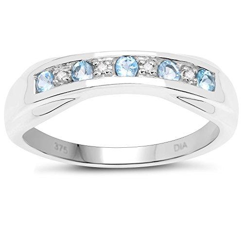 La Colección Diamantes Topacio Azul : 9ct Anillo Oro Blanco de Topacio Azul y Diamantes...