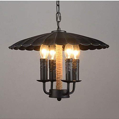 Yankuoo Vintage industriële verlichting plafondlamp, kunsthenneptouw kaars smeedijzeren kroonluchter, wandkandelaar kroonluchter geschikt voor hoofddecoratie restaurant keuken E27 * 4