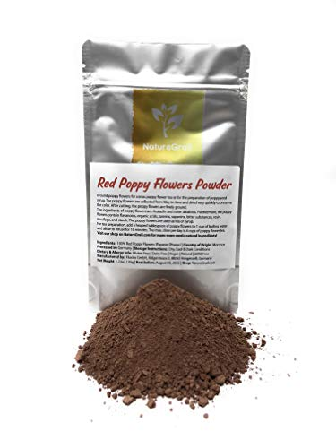 Red Poppy Flowers Powder - Ground Poppy Flowers For Use As Poppy Flower Tea Or Preparation Of Poppy Seed Syrup - Ingredients: 100% Papaver Rhoeas - Kosher, Halal, Organic - Net Weight: 1.23oz / 35g
