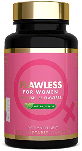 Flawless for Women Fibre Supplement with Green Tea, 1500mg Psyllium Husk, Supports Healthy Digestion, Irritable Bowel - 120 Caps