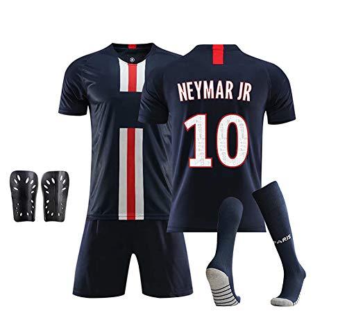 DDSC # 10 Neymar jr fußballverein Jersey Set uniform, Kurzarm Shorts Socke schienbeinschoner Trainingsanzug Tank Tops Weste für Erwachsene Teens Kinder 16-XXL-Top Hemd Darkblue-L
