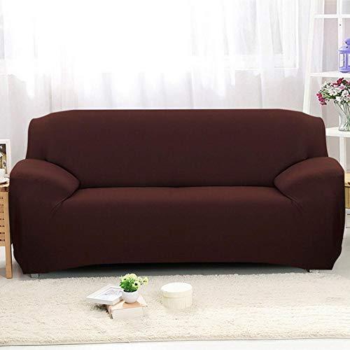XCVBSofa hoes Effen kleur Elastische Sofa Cover All-inclusive Kussenovertrekken 1/2/3/4 zits Moderne Hoekbank Bank Hoes Stoelbeschermer, bruin