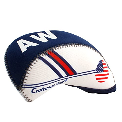 Craftsman Golf White & Blue US Flag Neoprene Golf Club Head Cover Wedge Iron Protective Headcover for Callaway, Ping, Taylormade, Cobra, Etc.