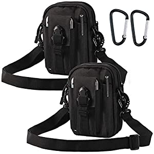 Ydmpro Tactical Pouches - 900D Molle EDC Pouch Compact Multipurpose Utility Gadget Belt Waist Bag with Cell Phone Holster Holder, Shoulder Strap and Mini Carabiner
