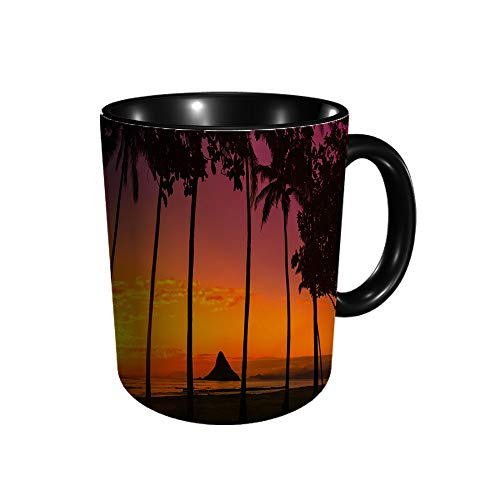 SunIn Oahu con palmeras O cerámica taza de té para oficina y hogar