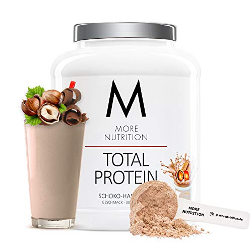 MORE NUTRITION Total Protein – dein premium Whey Protein-Pulver mit dem Plus an Casein & Laktase – hochwertiges Eiweißpulver für deinen Muskelaufbau – 1,5 Kg (Schoko-Haselnuss)