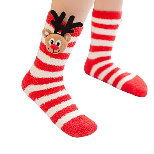 YWLINK Weihnachten Cute PlüSch Midrohr Socken Unisex Freizeit Karikatur Dreidimensional Tier Drucken Damen Herren Sleeping Winter Warm Socken
