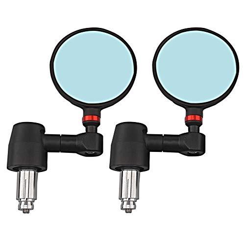 Super1Six 2 unids Aluminio Universal Motorcycle Mirror, Azul/Oro/Negro 22 mm 7/8'Pulgada Manija de la Barra End Retroview Espejos Laterales Accesorios de Motor (Color : Black Orange)
