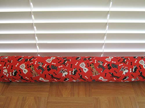 Door Draft Stopper Fabric Only Red Cotton Dog Fabric Custom Made 24 inches - 42 inches X 3.5 inches Short Extra Long You Pick Length Same Price